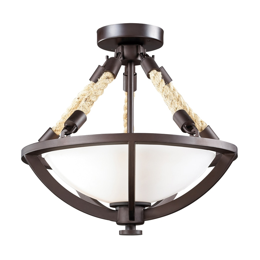 Westmore Lighting Natural Rope 15-in W Aged Bronze Frosted Glass Semi-Flush Mount Light