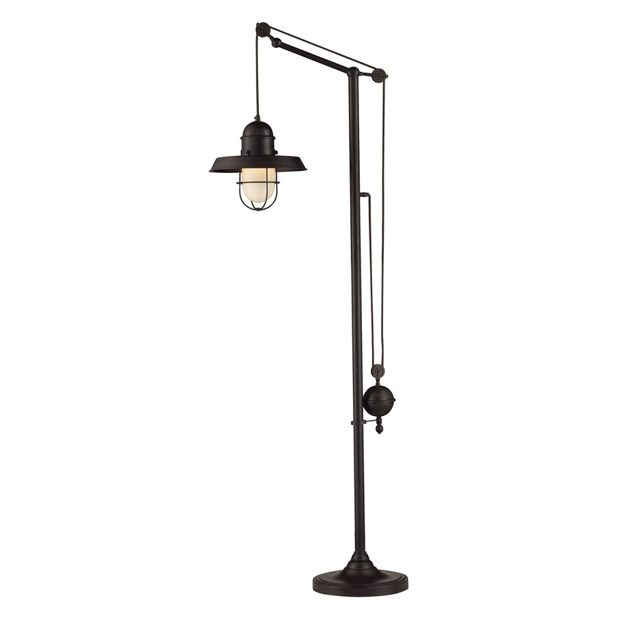 Westmore Lighting Farmhouse 69-in Oiled Bronze Swing-arm Floor Lamp with Metal Shade