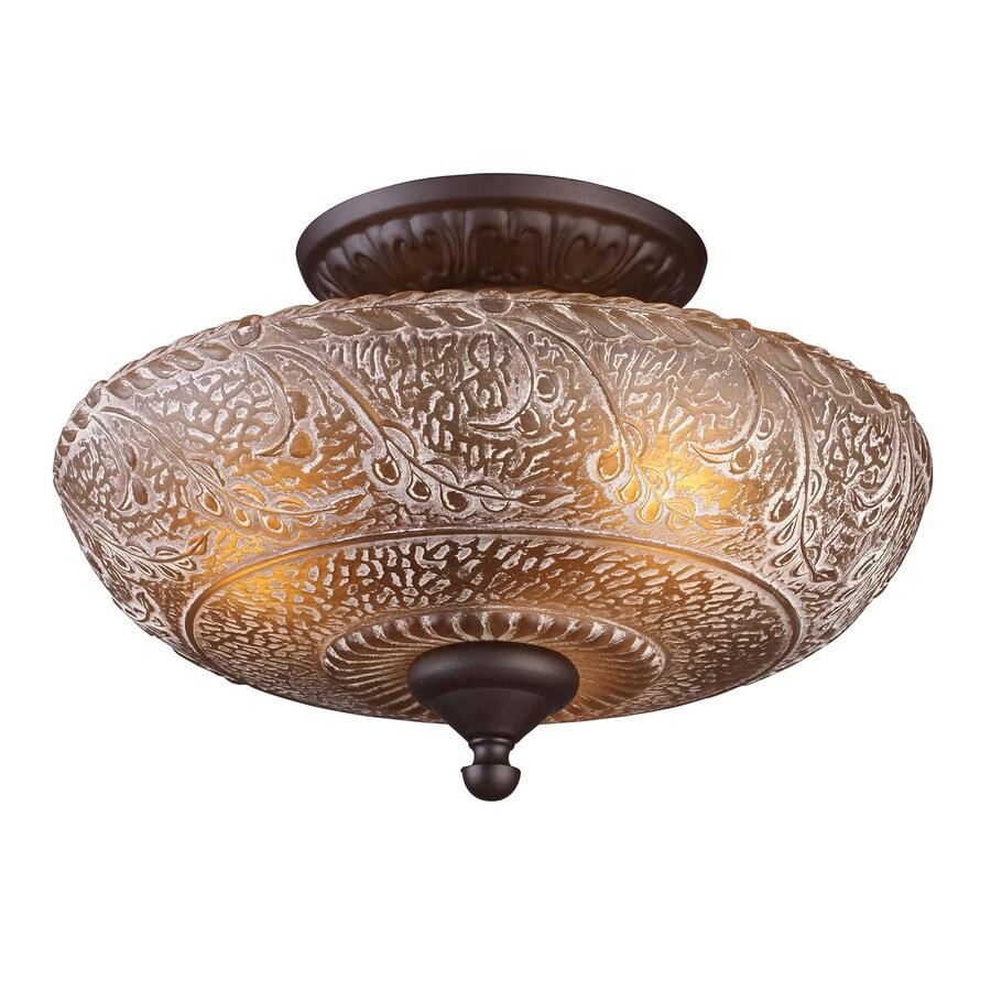 Westmore Lighting Norwich 14-in W Oiled Bronze Amber Glass Semi-Flush Mount Light