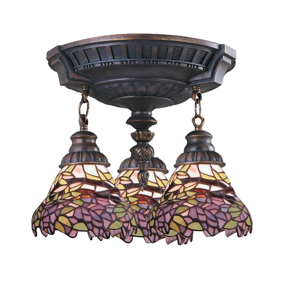 Westmore Lighting Mix-N-Match 14-in W Aged Walnut Stained Semi-Flush Mount Light