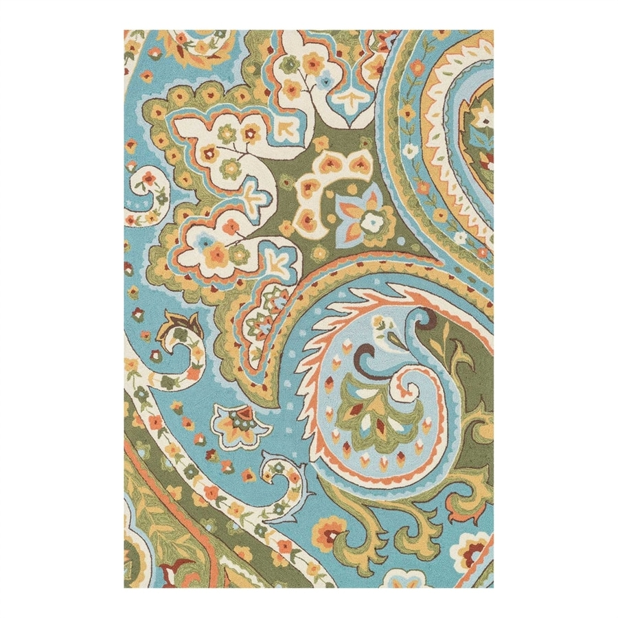 Loloi Francesca Blue/Green Rectangular Indoor Handcrafted Area Rug (Common: 5 x 7; Actual: 5-ft W x 7.5-ft L)