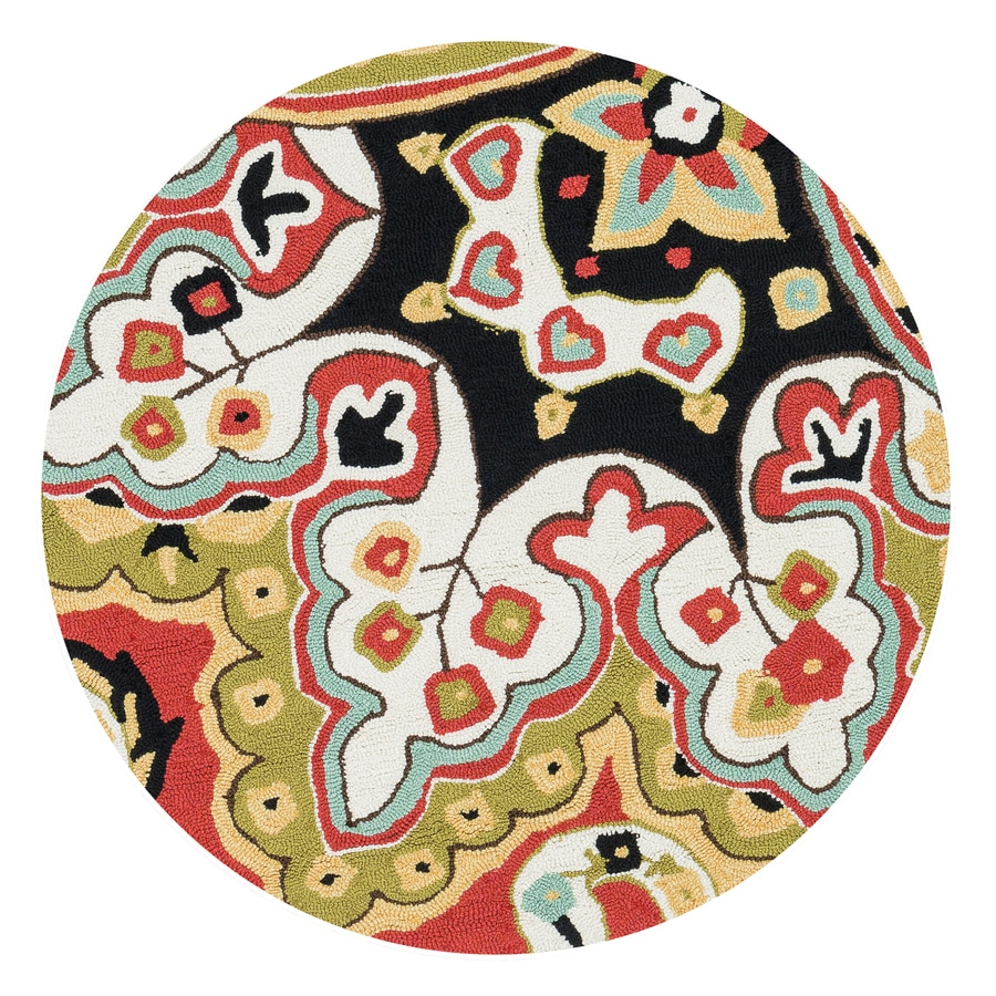 Loloi Francesca Red/Black Round Indoor Handcrafted Area Rug (3-ft Dia)