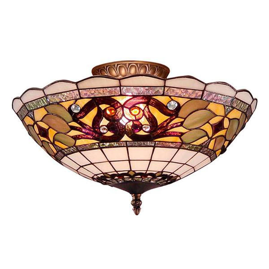 Westmore Lighting 16-in W Tiffany Bronze Stained Semi-Flush Mount Light