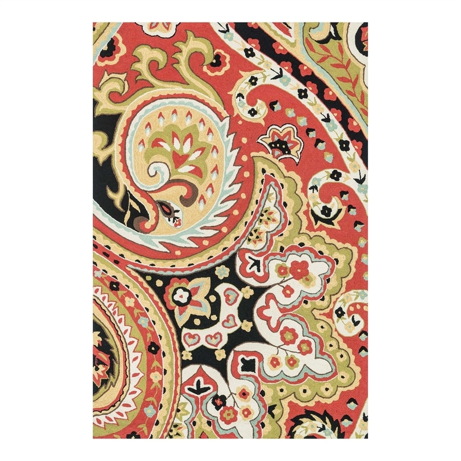 Loloi Francesca Red/Black Rectangular Indoor Handcrafted Area Rug (Common: 7 x 9; Actual: 7.5-ft W x 9.5-ft L)