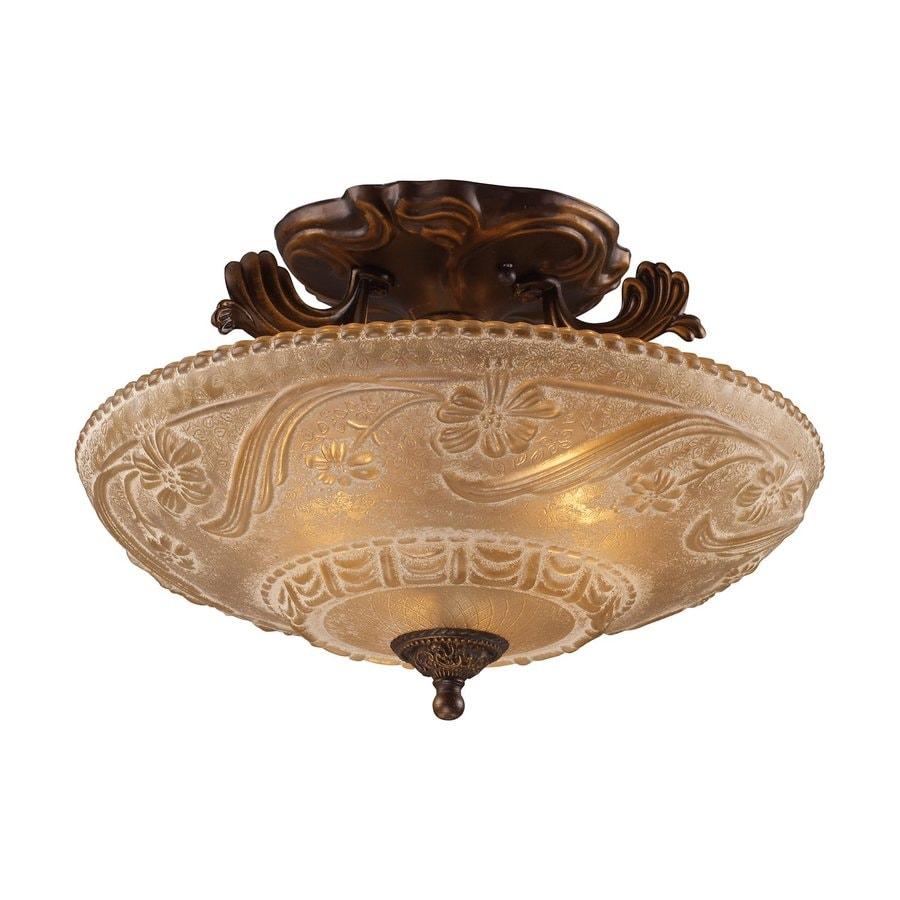 Westmore Lighting Restoration 16-in W Golden Bronze Etched Glass Semi-Flush Mount Light