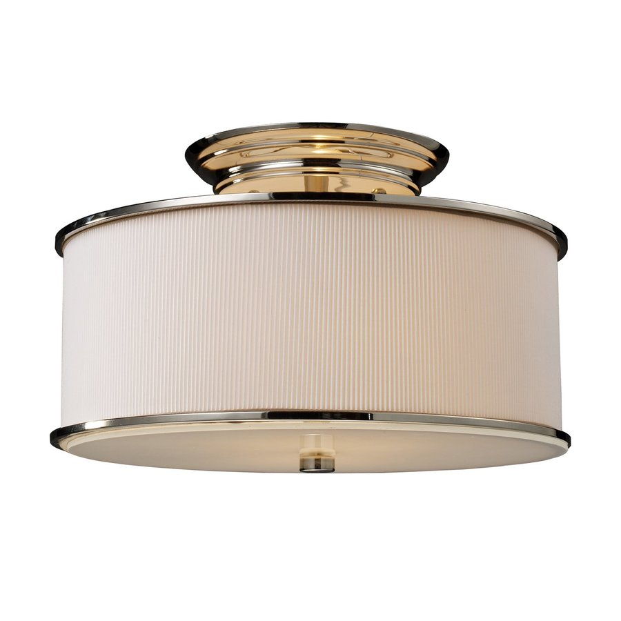 Westmore Lighting Lureau 15-in W Polished Nickel Frosted Glass Semi-Flush Mount Light