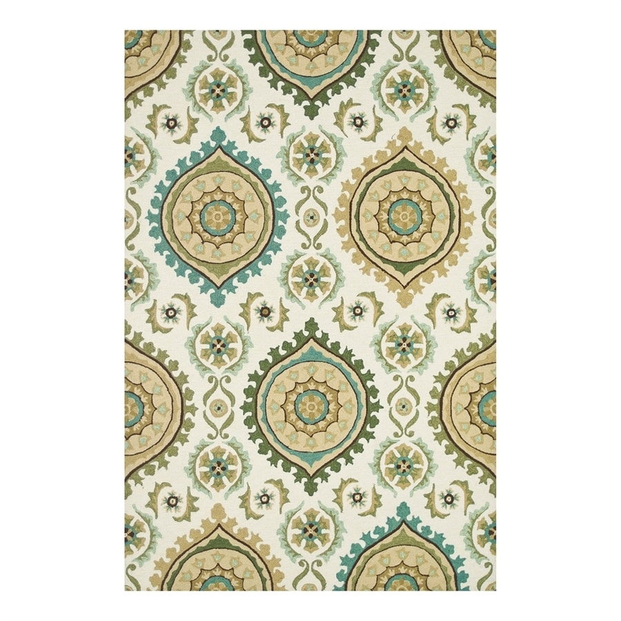 Loloi Francesca Ivory/Aqua Rectangular Indoor Handcrafted Area Rug (Common: 3 x 5; Actual: 3.5-ft W x 5.5-ft L)