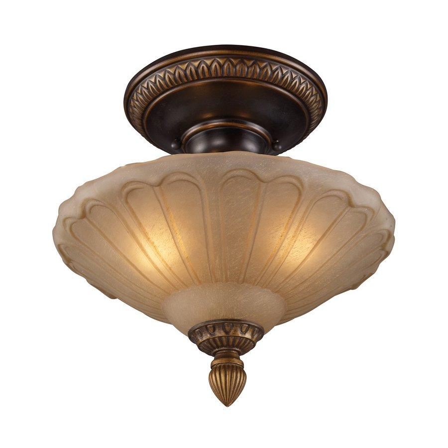 Westmore Lighting Restoration 12-in W Golden Bronze Amber Glass Semi-Flush Mount Light