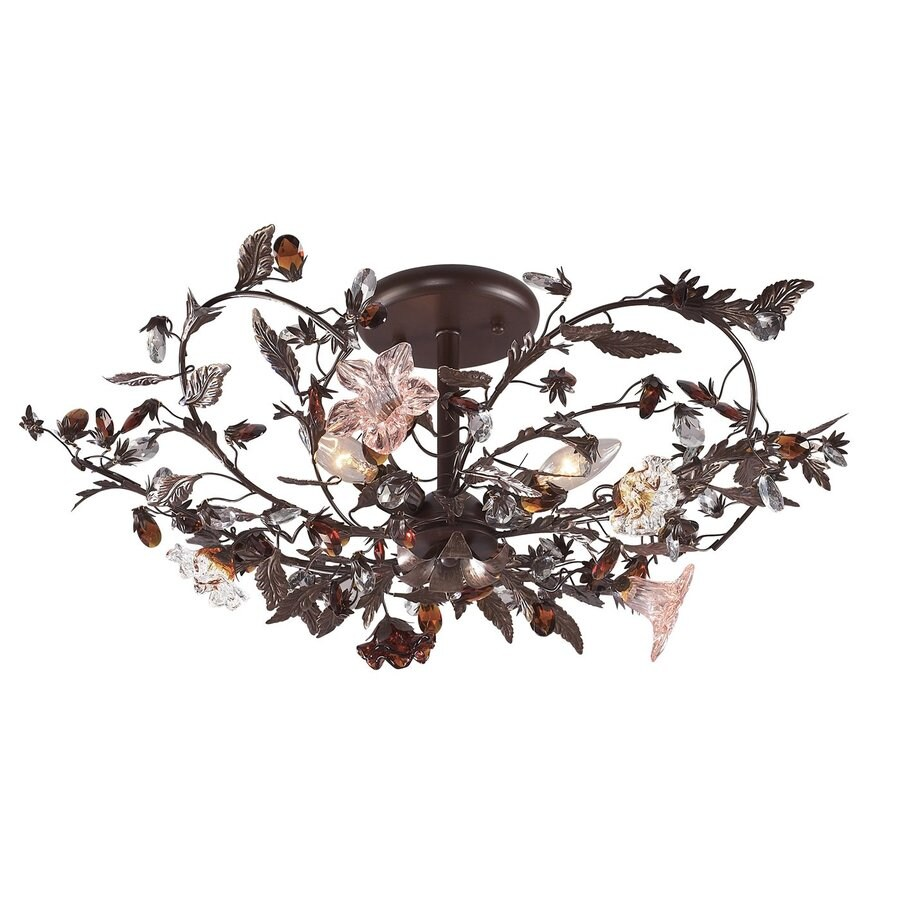 Westmore Lighting Cristallo Fiore 27-in W Deep Rust No Shades Semi-Flush Mount Light