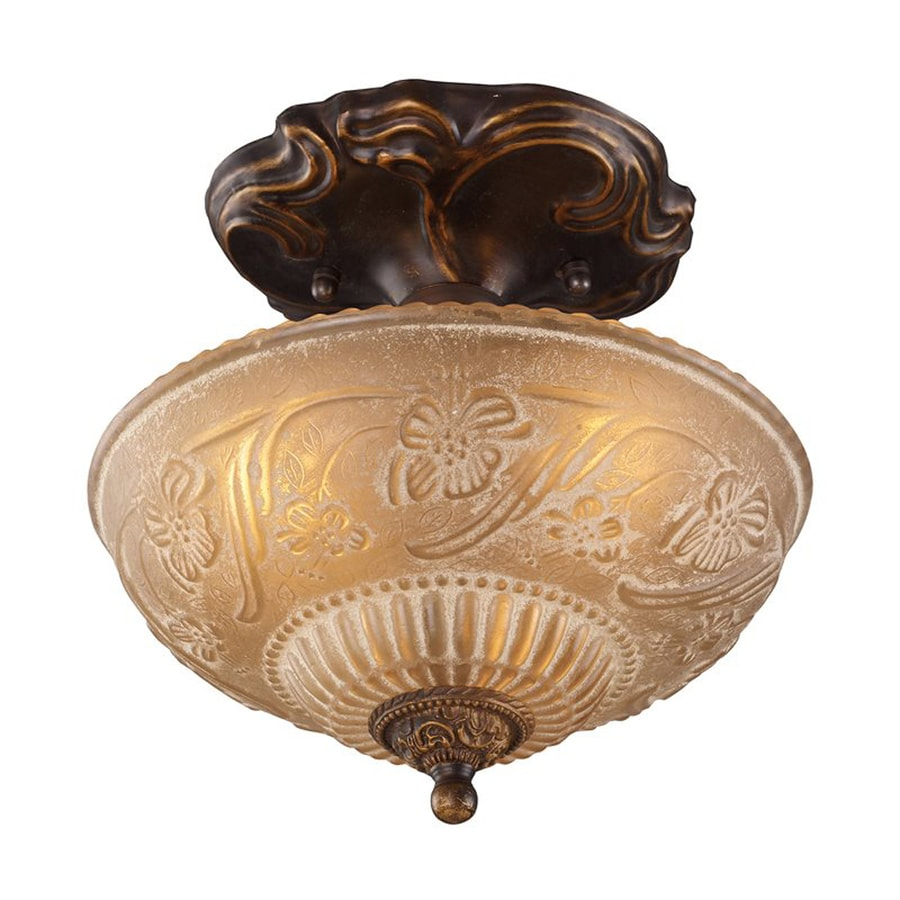 Westmore Lighting Restoration 10-in W Golden Bronze Etched Glass Semi-Flush Mount Light