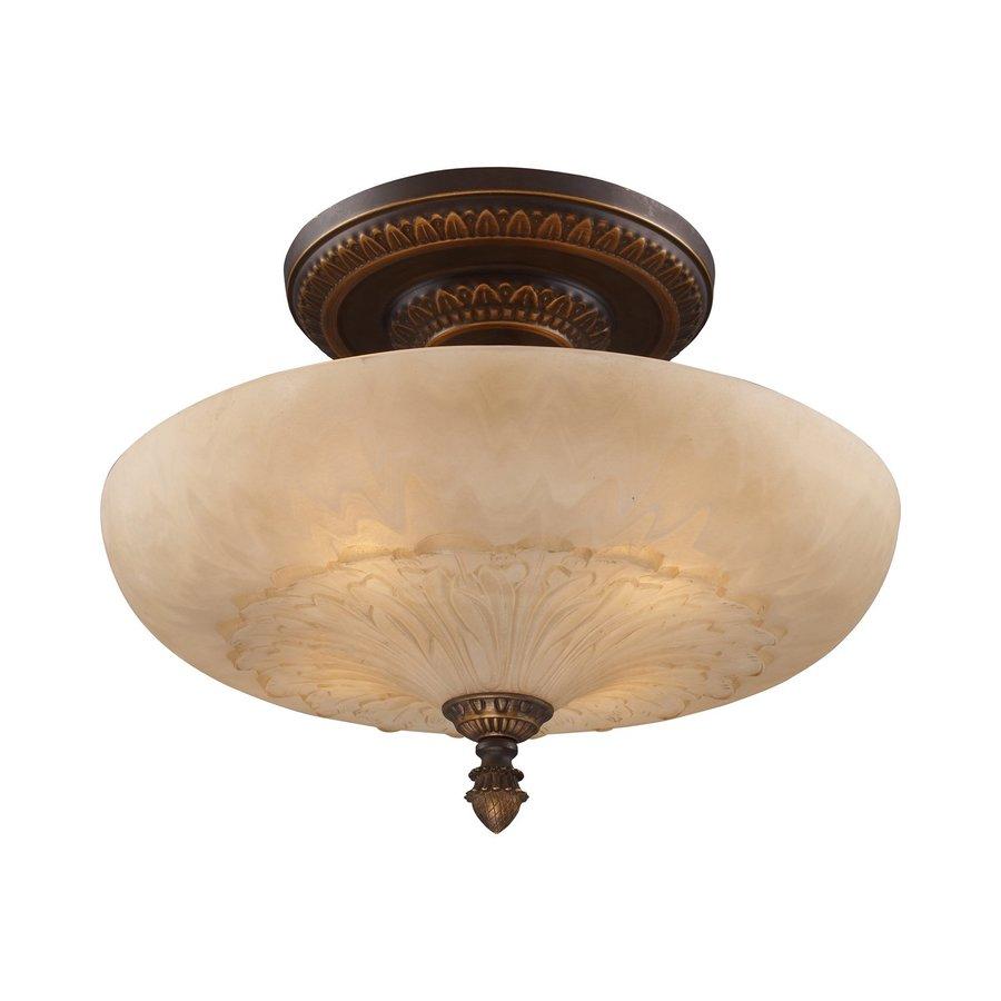 Westmore Lighting Restoration 19-in W Golden Bronze Frosted Glass Semi-Flush Mount Light