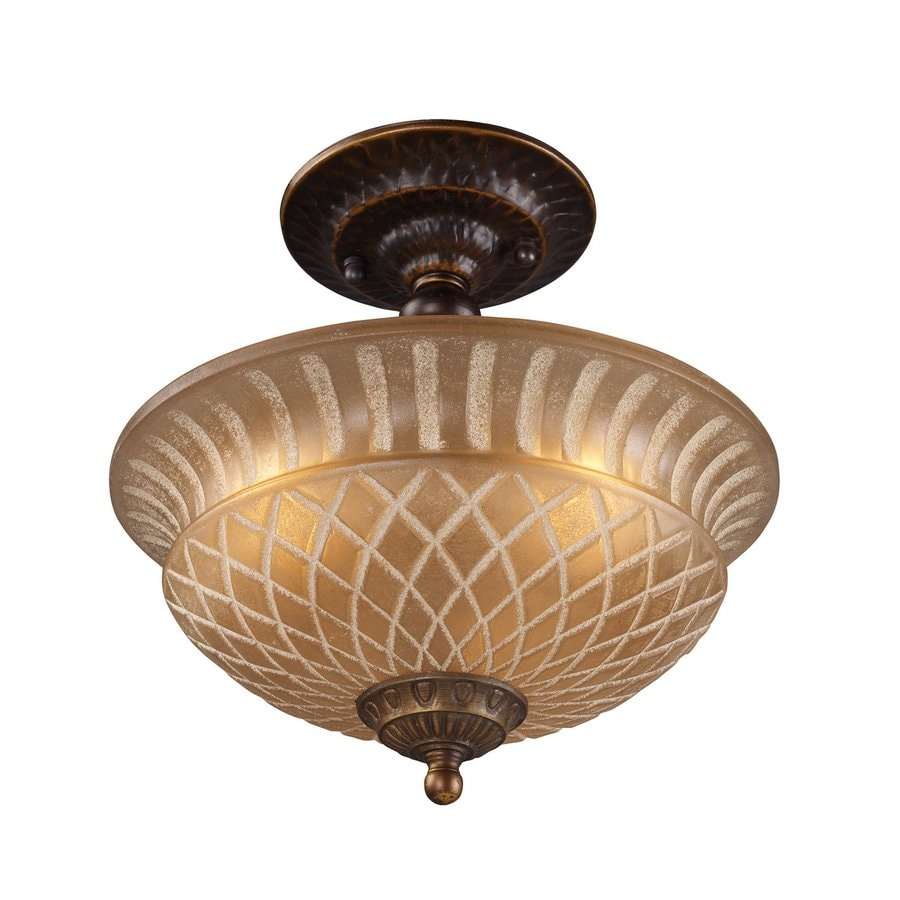 Westmore Lighting Restoration 10-in W Golden Bronze Etched Glass Semi-Flush Mount Light