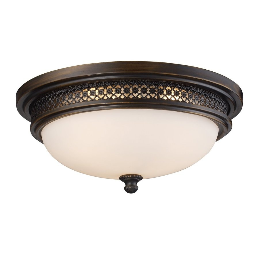 Westmore Lighting 16-in W Deep Rust Frosted Glass Semi-Flush Mount Light