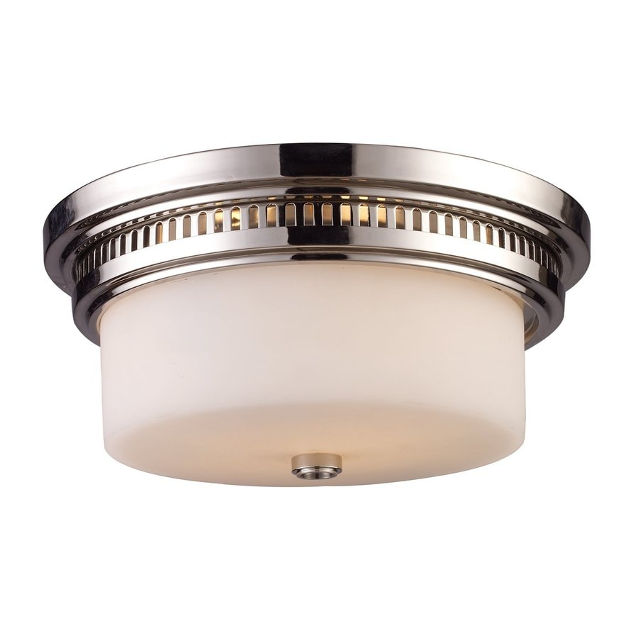 Westmore Lighting Chadwick 13-in W Polished Nickel Frosted Glass Semi-Flush Mount Light