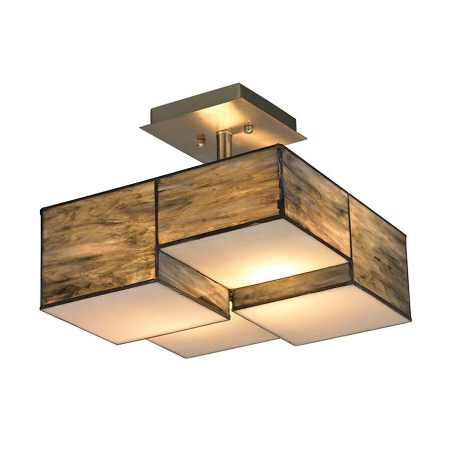 Westmore Lighting Cubist 13-in W Brushed Nickel Semi-Flush Mount Light