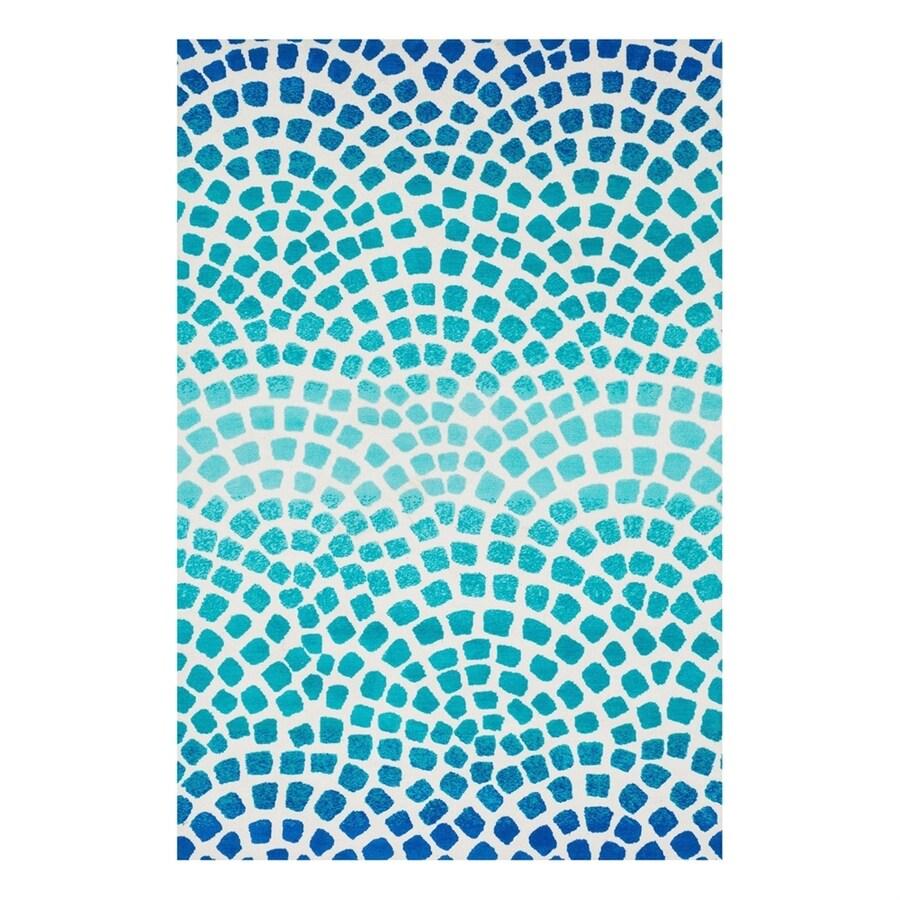 Loloi Cassidy Aqua/Blue Rectangular Indoor Machine-Made Area Rug (Common: 3 x 5; Actual: 3.5-ft W x 5.5-ft L)