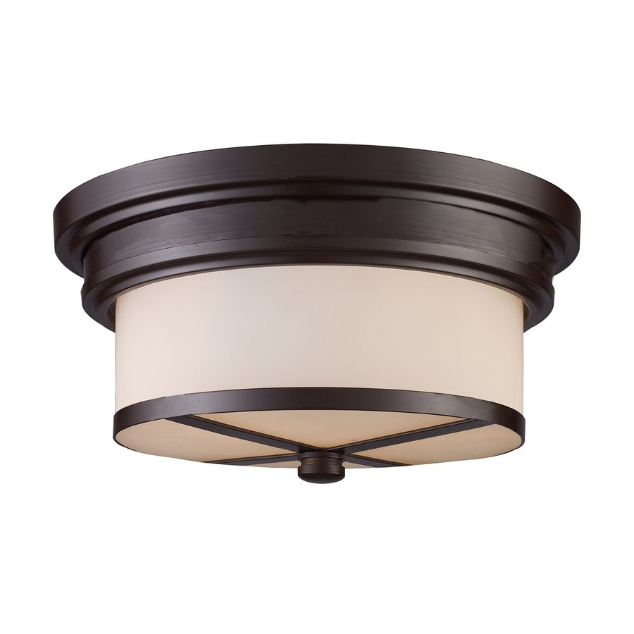 Westmore Lighting 13-in W Oiled Bronze Frosted Glass Semi-Flush Mount Light