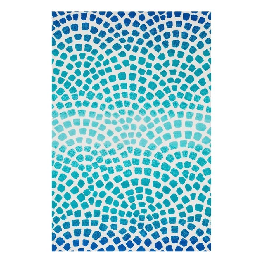 Loloi Cassidy Aqua/Blue Rectangular Indoor Machine-Made Area Rug (Common: 7 x 9; Actual: 7.5-ft W x 9.5-ft L)