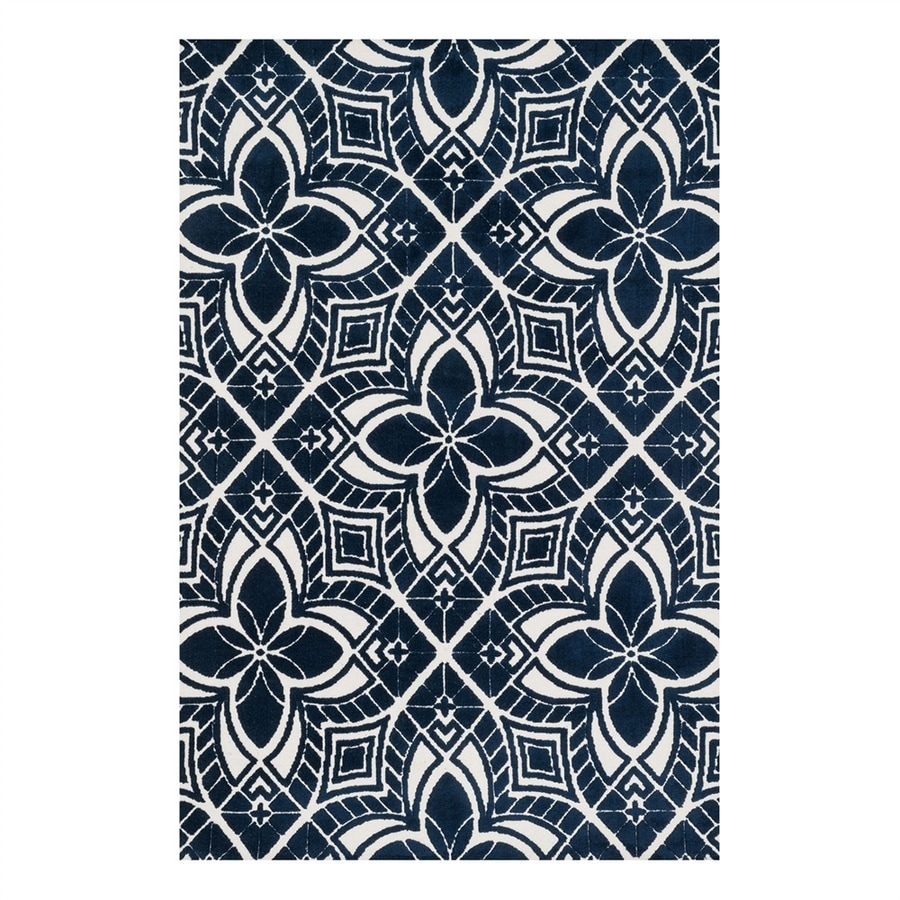 Loloi Cassidy Ivory/Navy Rectangular Indoor Machine-Made Area Rug (Common: 5 x 7; Actual: 5-ft W x 7.5-ft L)