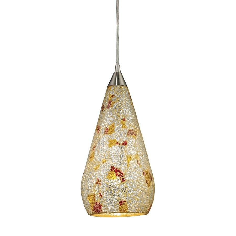 Westmore Lighting Clavella 6-in Satin Nickel Mini Art Glass Teardrop Pendant