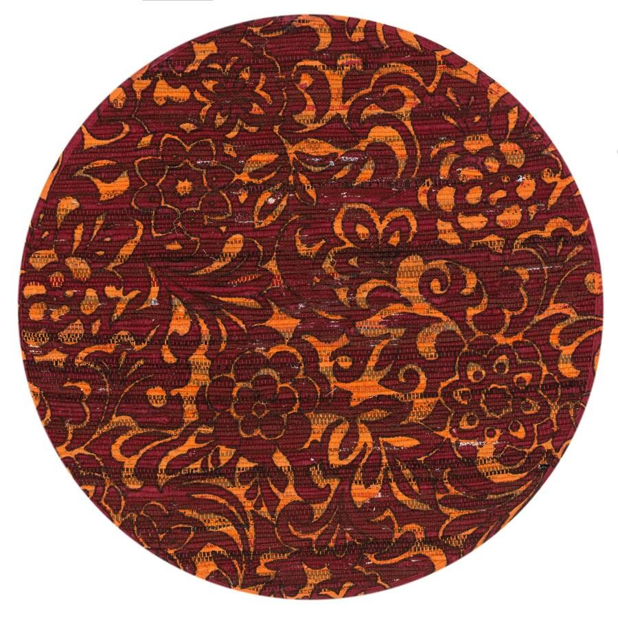 Loloi Aria Red/Orange Round Indoor Handcrafted Area Rug (Common:; Actual: W x L x 3-ft dia)
