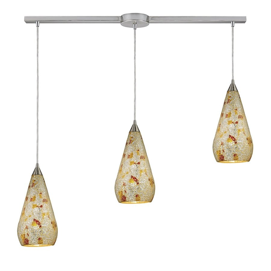 Westmore Lighting Clavella 37-in Satin Nickel Linear Art Glass Teardrop Pendant