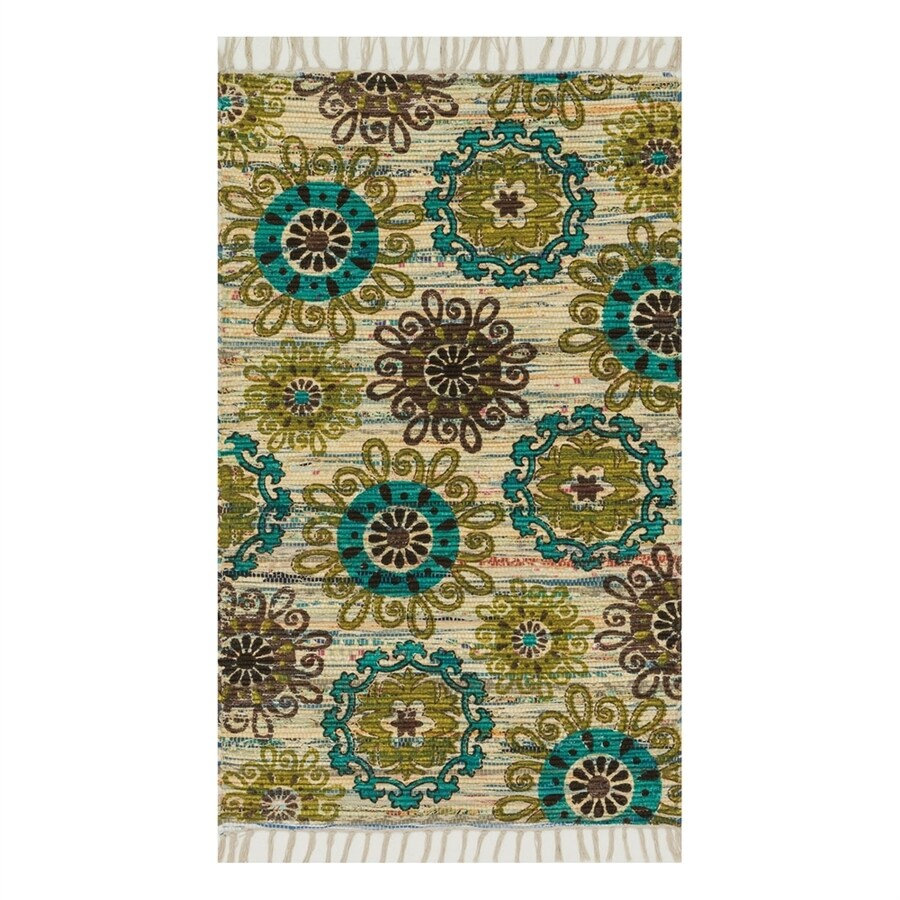 Loloi Aria Ivory/Multicolor Round Indoor Handcrafted Area Rug (Common:; Actual: W x L x 3-ft dia)