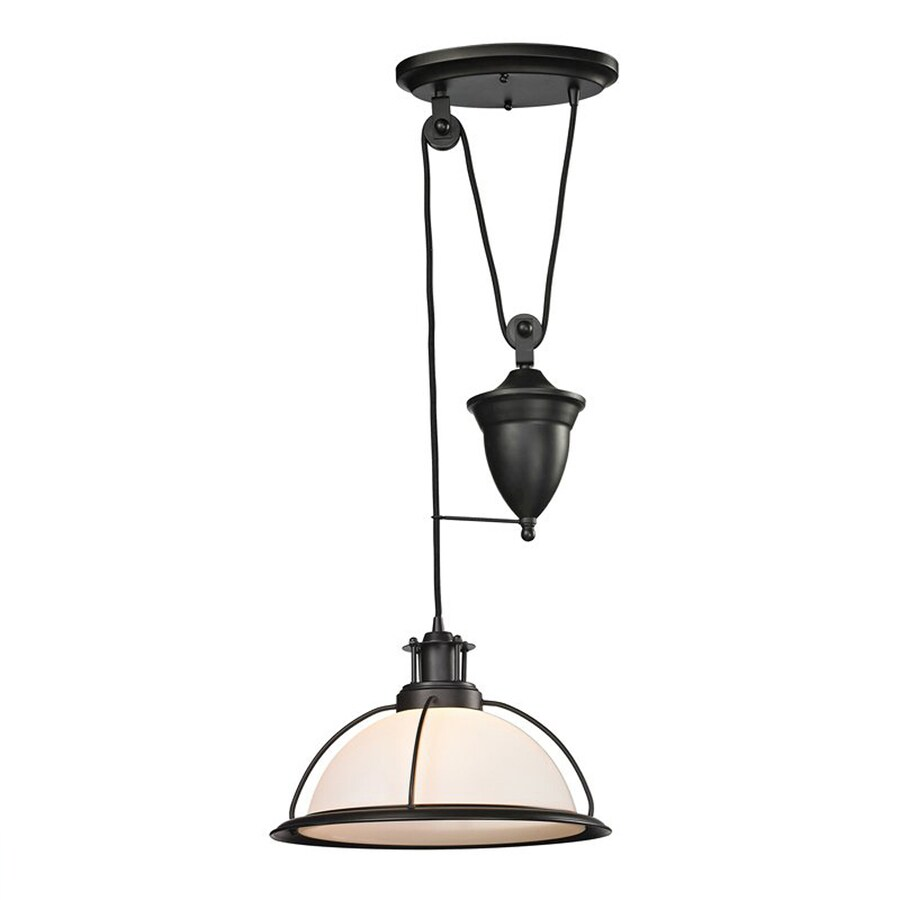 Westmore Lighting Corkshire 14-in Oil Rubbed Bronze Barn Single Tinted Glass Dome LED Pendant