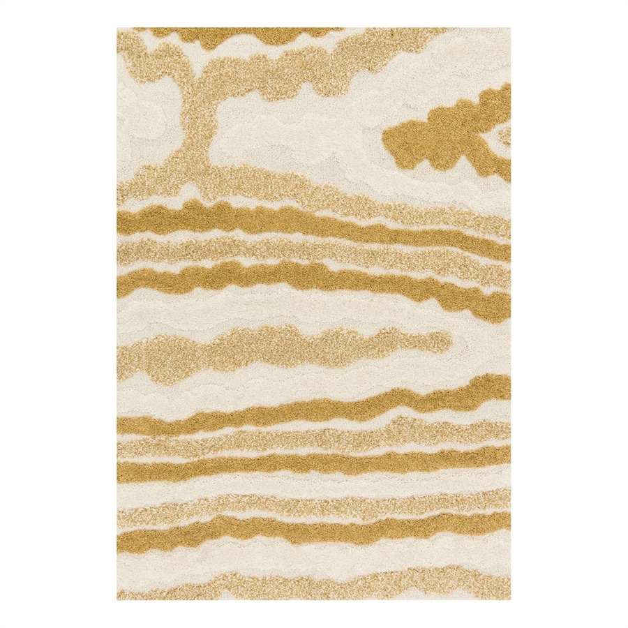 Loloi Enchant Ivory/Gold Rectangular Indoor Machine-Made Area Rug (Common: 5 x 7; Actual: 5.25-ft W x 7.58-ft L)