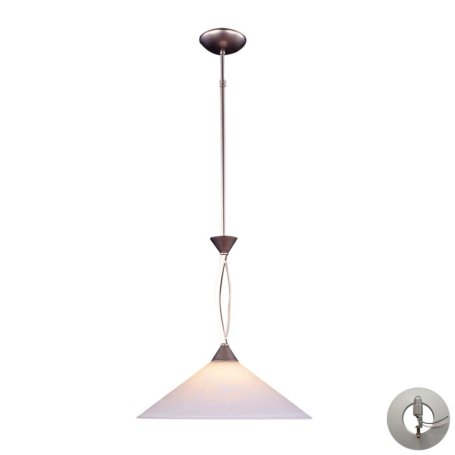 Westmore Lighting Beckett 16-in Satin Nickel Single Marbleized Glass Cone LED Pendant