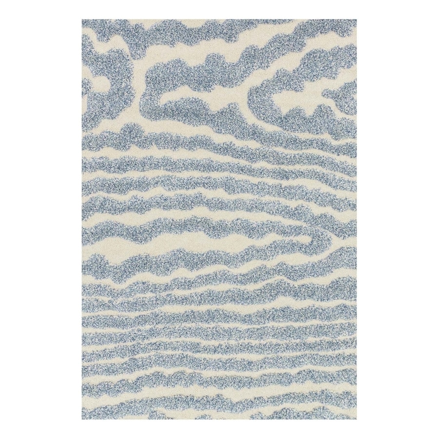 Loloi Enchant Ivory/Light Blue Rectangular Indoor Machine-Made Area Rug (Common: 7 x 10; Actual: 7.58-ft W x 10.5-ft L)
