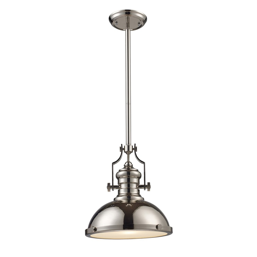 Westmore Lighting Chadwick 13-in Polished Nickel Barn Single Dome LED Pendant