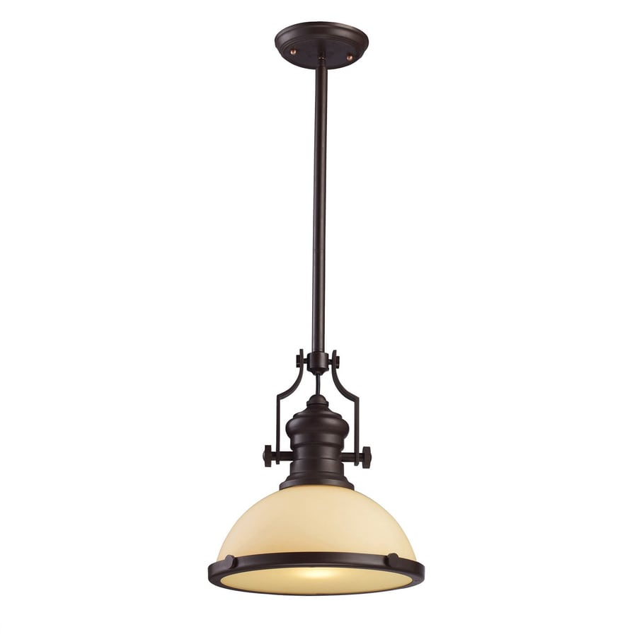 Westmore Lighting Chadwick 13-in Oiled Bronze Barn Single Tinted Glass Warehouse LED Pendant