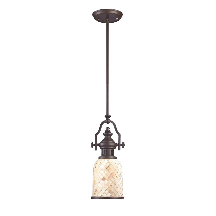 Westmore Lighting Chiserley 6-in Oiled Bronze Country Cottage Mini Textured Glass Bell Pendant
