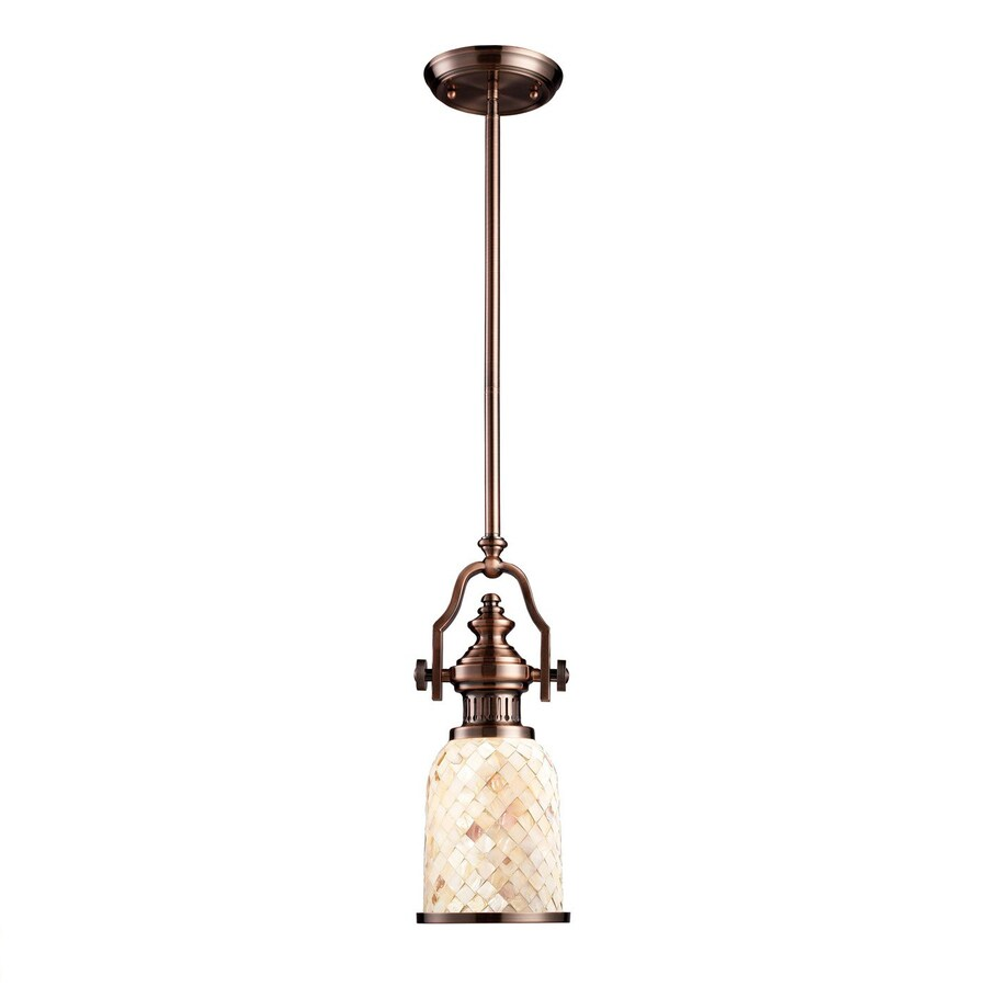 Westmore Lighting Chiserley 6-in Antique Copper Country Cottage Mini Textured Glass Bell LED Pendant
