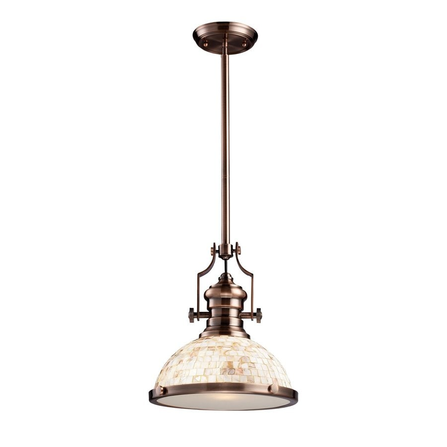 Westmore Lighting Chiserley 13-in Antique Copper Country Cottage Single Textured Glass Warehouse Pendant