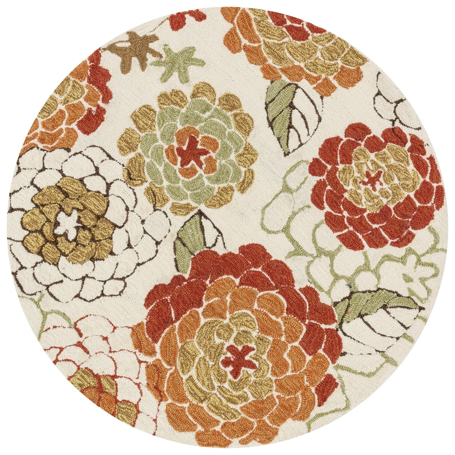 Loloi Francesca Ivory/Spice Round Indoor Handcrafted Nature Area Rug