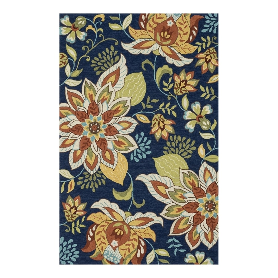 Loloi Francesca Blue/Floral Rectangular Indoor Handcrafted Nature Area Rug (Common: 3 x 5; Actual: 3.5-ft W x 5.5-ft L)