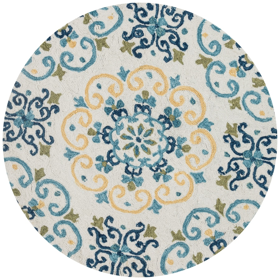Loloi Francesca Ivory/Light Blue Round Indoor Handcrafted Area Rug
