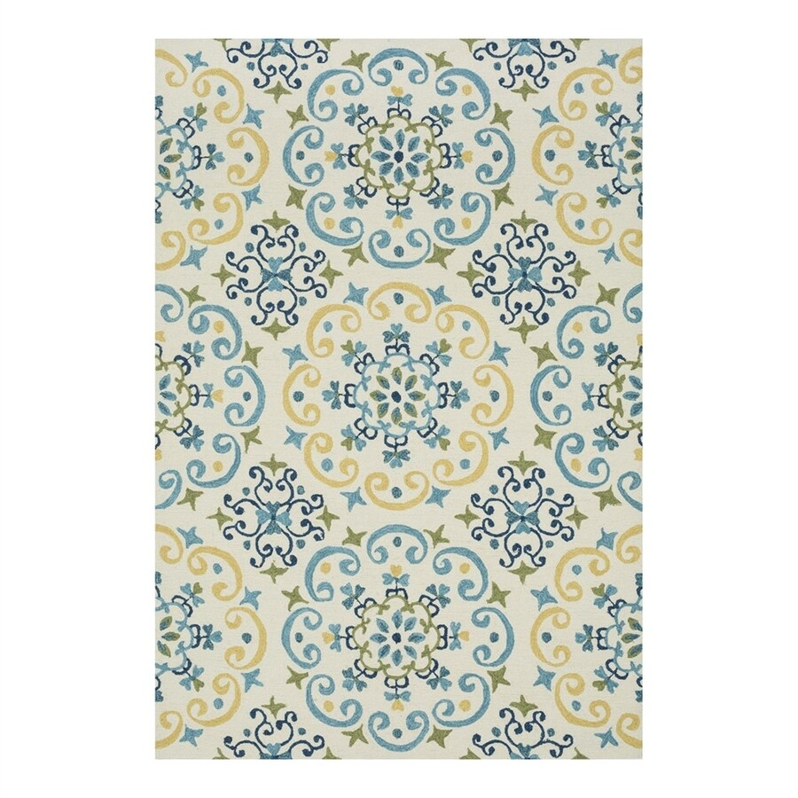 Loloi Francesca Ivory/Light Blue Rectangular Indoor Handcrafted Area Rug (Common: 5 x 7; Actual: 5-ft W x 7.5-ft L)