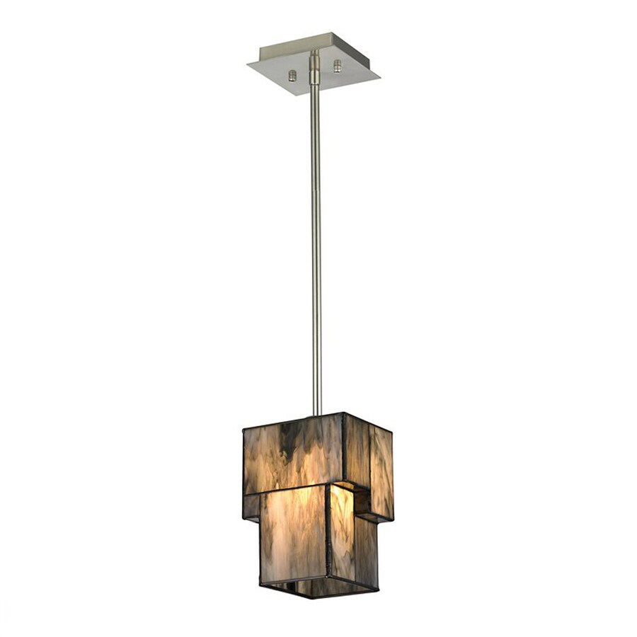 Westmore Lighting Tectonics 5-in Brushed Nickel Mini Art Glass Rectangle LED Pendant