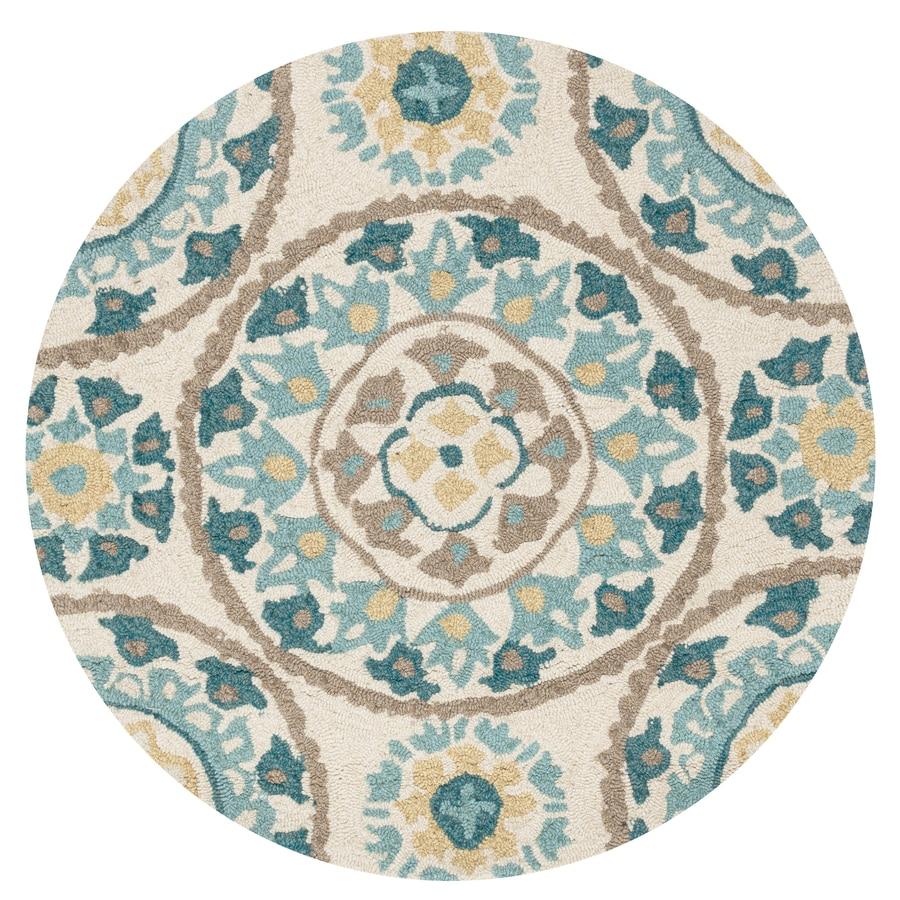 Loloi Francesca Ivory/Beige Round Indoor Handcrafted Area Rug