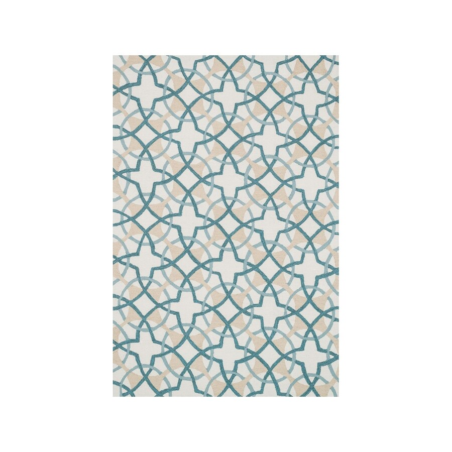 Loloi Francesca Ivory/Teal Rectangular Indoor Handcrafted Area Rug (Common: 5 x 7; Actual: 5-ft W x 7.5-ft L)