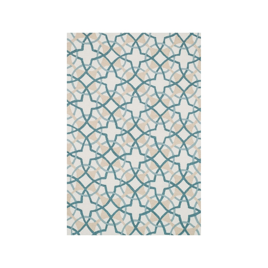 Loloi Francesca Ivory/Teal Rectangular Indoor Handcrafted Area Rug (Common: 7 x 9; Actual: 7.5-ft W x 9.5-ft L)