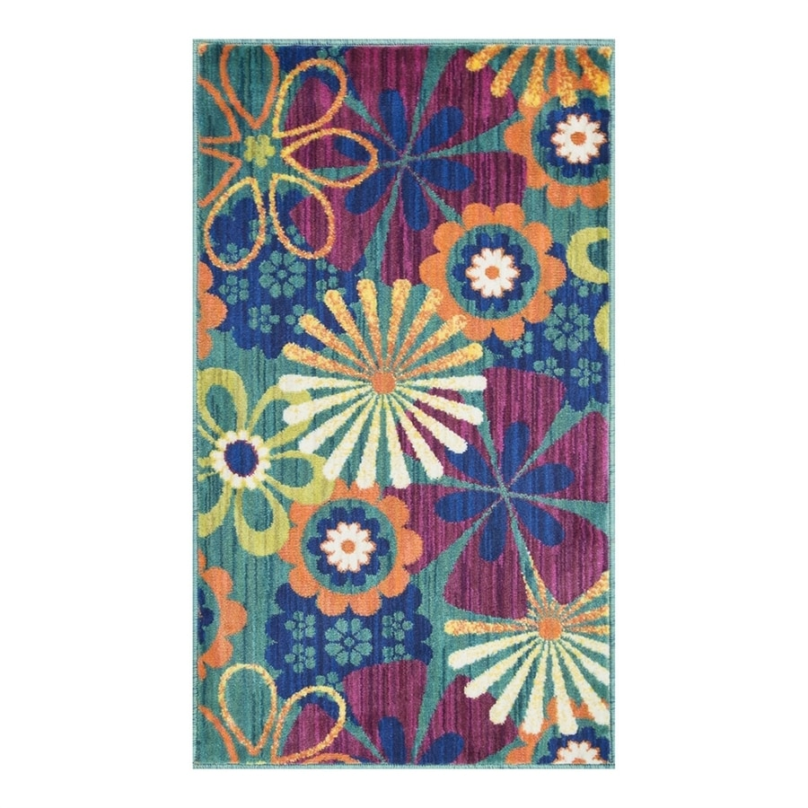 Loloi Isabelle Teal/Multi Rectangular Indoor Throw Rug (Common: 2 x 3; Actual: 2.16-ft W x 3.75-ft L)