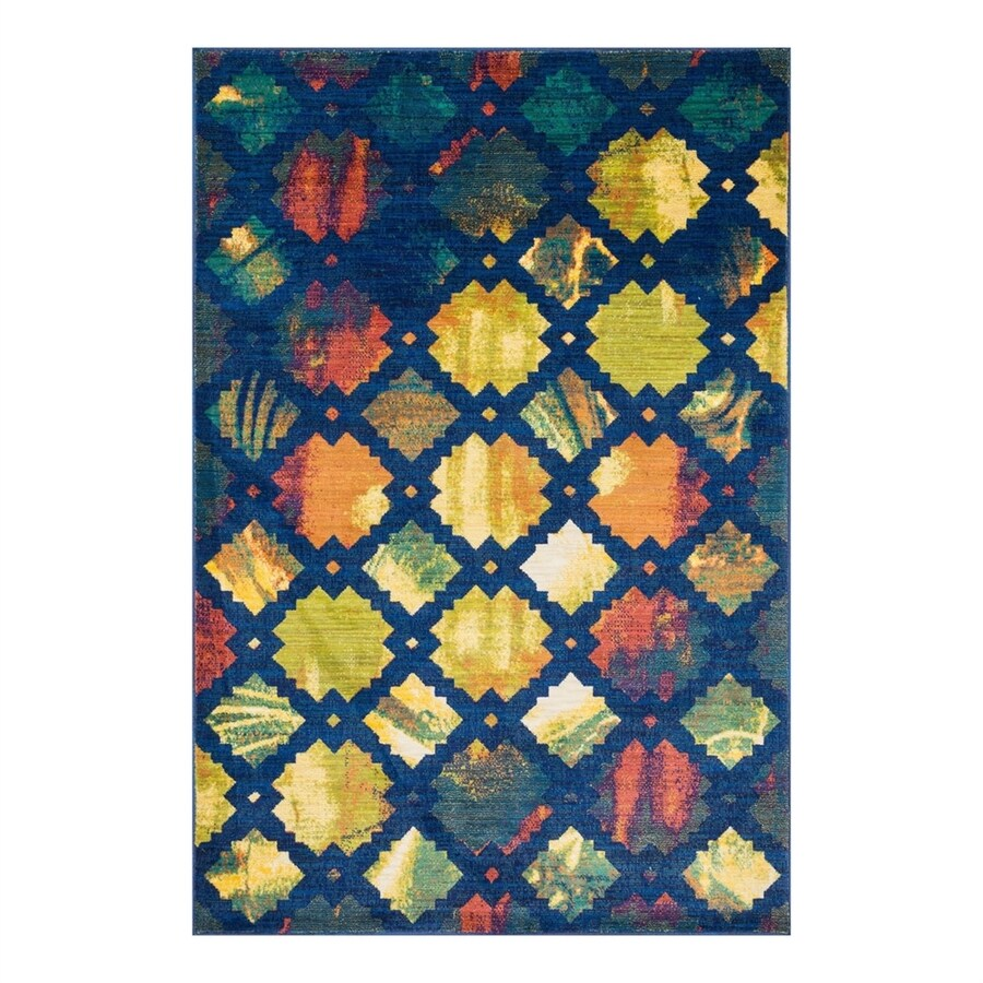 Loloi Lyon Blue/Multi Rectangular Indoor Throw Rug (Common: 2 x 3; Actual: 2-ft W x 3-ft L)