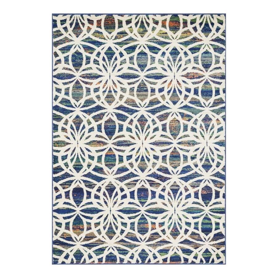 Loloi Lyon Blue/Multi Rectangular Indoor Area Rug (Common: 5 x 7; Actual: 5.16-ft W x 7.58-ft L)
