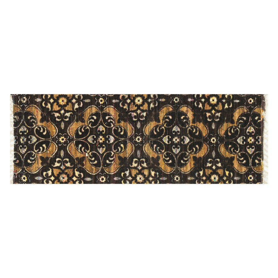 Loloi Aria Brown/Gold Rectangular Indoor Handcrafted Oriental Runner (Common: 2 x 5; Actual: 1.75-ft W x 5-ft L)