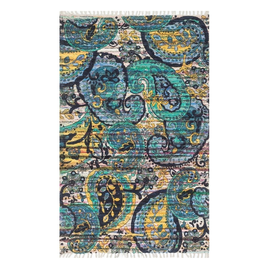 Loloi Aria Blue/Multicolor Rectangular Indoor Handcrafted Area Rug (Common: 4 x 6; Actual: 3.5-ft W x 5.5-ft L)
