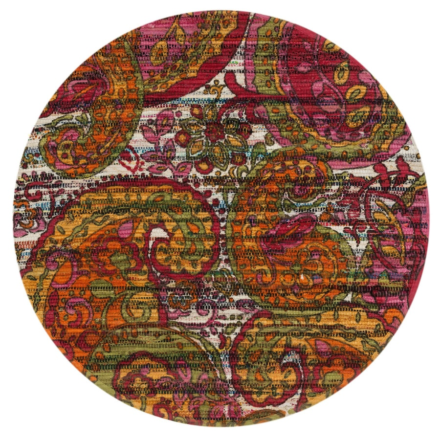 Loloi Aria Green/Multicolor Round Indoor Handcrafted Area Rug (Common:; Actual: W x L x 3-ft dia)